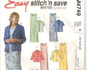 McCall's McCalls 4749 Size 16, 18, 20, 22 Womens plus size pattern: jacket, sleeveless long sheath /shift dress. Mother of the bride, formal