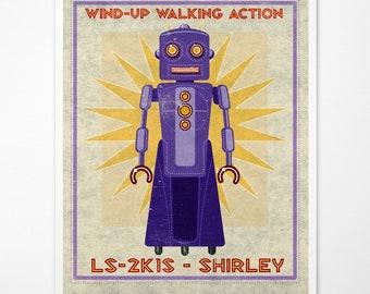 "Retro Robot Art Print- Shirley Box Art Robot Decor 8"" x 10"" Science Fiction Art for Kids Rooms or Robot Nursery Decor- Kid Bedroom"