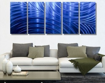 Extra Large Contemporary Wall Sculpture, Modern Metal Wall Art, Abstract Painting, Home & Office Decor - Synchronicity Blue XL by Jon allen