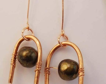 Copper Horseshoe Shaped Earrings with Vintage Bronzed Beads