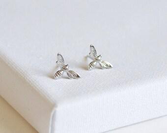 SALE . honeybee earrings . little bee stud earrings . tiny bee earrings . silver bee earrings . honeybee studs . simple bee earrings / 2HBEE