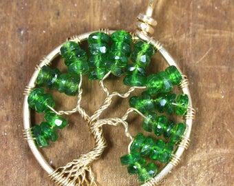 14k Gold Emerald Green Chrome Diopside Tree of Life Pendant Russian Siberian Emerald May Birthstone Fine Jewelry Wire Wrapped Jewelry RTS