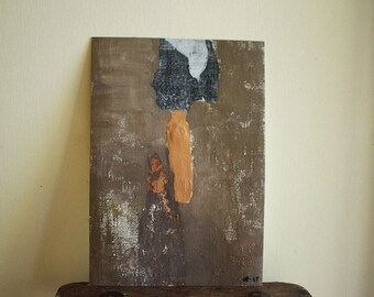 """YESTERDAY original painting 10""""x7"""" / acrylic on paper by pamelatang"""