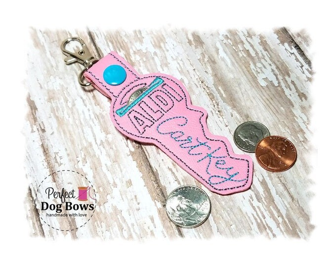 Pink Key Quarter Keeper, Key Quarter Holder, Quarter Coin Holder, Shopping Cart Coin Keeper, Embroidered Cart Key
