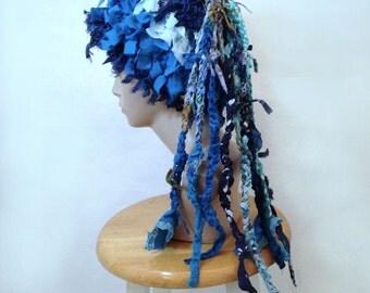 Crazy crochet hat hat with dreads boho hat womens hat  funky hat unique shabby chic hat unusual weird hat millinery statement blue hat denim