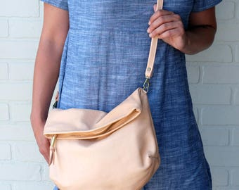 Large Leather purse Foldover Crossbody bag in soft peach leather with linen lining