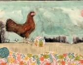 walking chicken mixed media acrylic  painting horizontal long canvas
