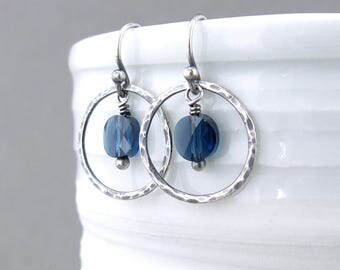 Small Blue Earrings Sterling Silver Circle Earrings Gift for Her Handmade Rustic Jewelry - Dainty Dot