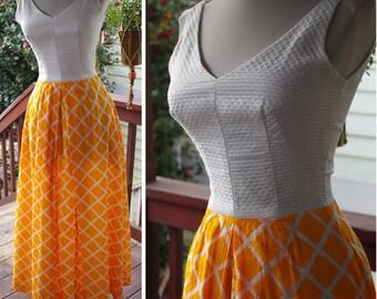 """Cream TANGERINE 1960's 70's Vintage Bright Orange + White Sleeveless Maxi Tiki Dress // size XXS XS Small W23 24"""" // Princess Kaiulani"""