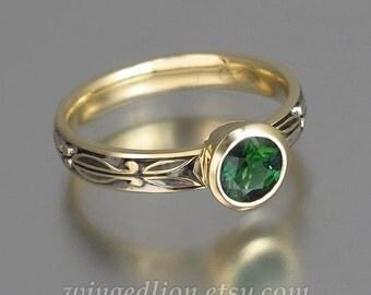 AUGUSTA 14k yellow gold ring with Green Tourmaline