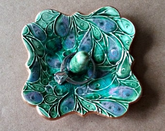 Ceramic Engagement Ring Holder Ring Dish Ring Bowl Peacock Green edged in gold 3 inches wide