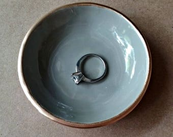Ceramic Ring Bowl  Taupe edged in gold