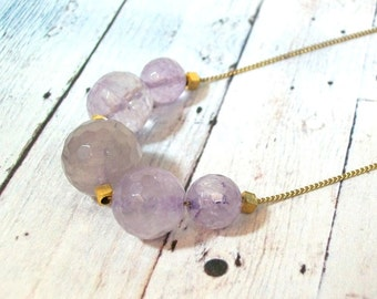 Amethyst Faceted Stone Bead Minimalist Necklace