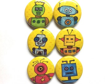 Robot Magnets - Robot Pins - 1 inch pinback button or magnet set, sci fi fridge magnet, geekery, science decor, robot art, party favors gift