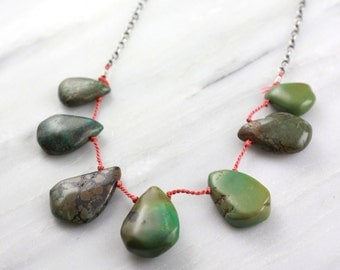 Natural Green Turquoise Orange Silk Necklace