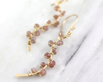 Peach Moonstone Wrapped Gold Vine Earrings