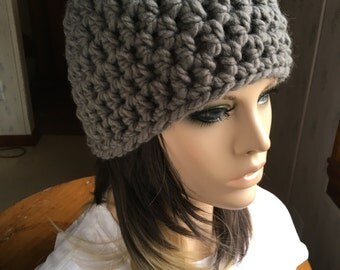 Crochet Beanie Hat Gray Hat Chunky Crochet Hat