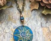 Reserved for Sue, Celtic Sun Spiral Pendant Copper,Sun Necklace, Sun Jewelry, Irish Celtic Jewelry