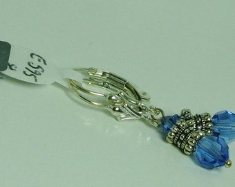 Sapphire Swarovski Crystal and Sterling Silver Earrings - E595