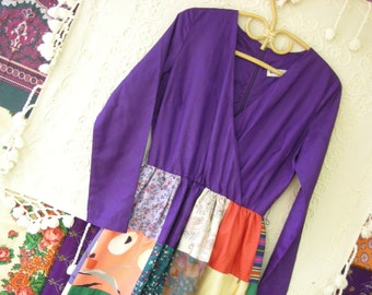 Vintage 70s Maxi Patchwork Dress Krist Gudnason California Boho Dress Vibrant Colors