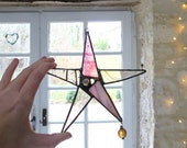 Star Suncatcher, Stained Glass Suncatcher, Boho Glass Decor Light Catcher, Coloured Glass, Made in France by Pamela Angus