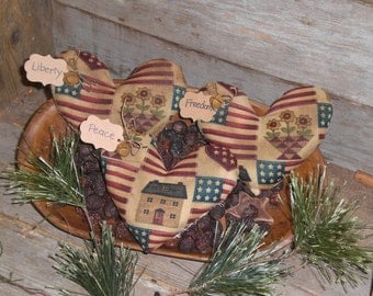 Set of 3 Primitive Grungy Rustic Red White and Blue LOVE USA FREEDOM Hearts Americana July 4 Heart Shaped Bowl Fillers - Ornies - Tucks -