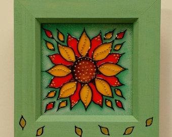 Sunflower Glass Art Painting / Original Design / Flower Art / 12cm Box Frame