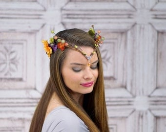 Elven Crown, Elven Headdress, Autumn Elven Flower Crown with Silver Detail, Fantasy Headpiece, Headdress, Cosplay, Costume Headpiece, Fairy