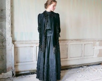 Victorian Silk Faille Cape With Chenille Fringe XS