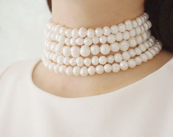 Statement Necklace Bridesmaid Jewelry Wedding Necklace Wedding Jewelry Pearl Necklace Bridal Necklace Bridal Jewelry Pearl Jewelry Gift