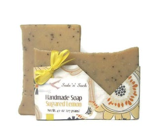 Lemon Poppy Seed Soap - Sugared Lemon - Exfoliating Vegan Body Soap - Scrubby - Cold Process with Yellow Clay - Wrapped Soap - Homemade