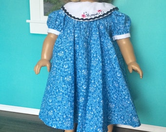 18 inch doll clothes- Blue HOPE Party Dress - Fits American Girl Dolls