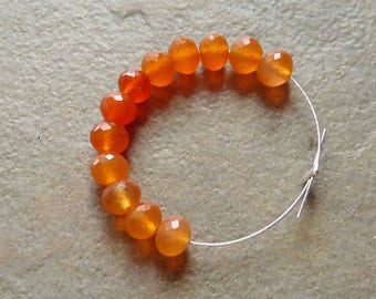 AAA Carnelian Faceted Rondelles - 4mm - 12 Beads