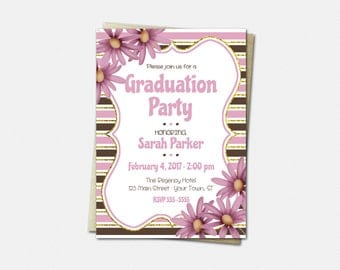 Pink Daisy Graduation Invitation - High School or College Graduation Invitations - Floral Graduation - Printed or Printable | pink girl