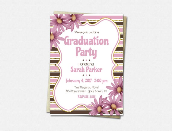 Graduation Party Invitations - High School Graduation Invitation - College Graduation Invitation - Pink Daisy - Floral Graduation Invitation
