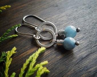 Amazonite Earrings - Small Silver Earrings - Tiny Circle Earrings - Hammered Silver Earrings - Light Blue Earrings - Natural Stone Earrings
