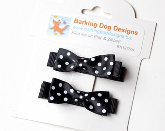 Polka Dot Tuxedo Bow. Small Baby Hair Clippie With No Slip Clip. Toddler Girl Hair Clip Set of 2. Black and White Small Boutique Hair Bows