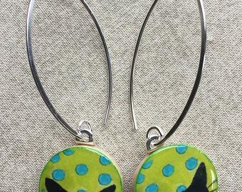 Cat Earrings - Cat Jewelry - Mylo Seeing Spots Earrings - Tuxedo Cat Earrings - Gift for Cat Lover - Gift for Her - Long Earings