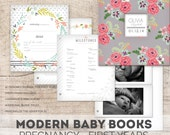 Girl Flower Baby Book, a Modern Baby Memory Book for Baby's First Year  (Flower Pages, Flower Cover 9.25 x 9.5)