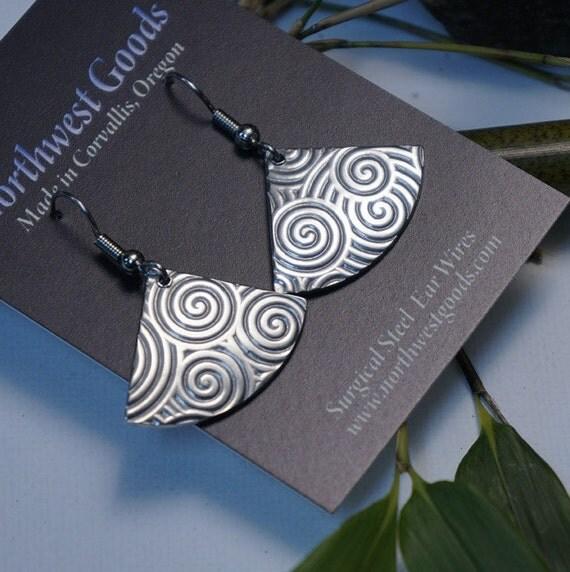 Aluminum swirl fan earrings