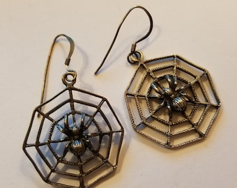 Vintage Sterling Silver Spider on Web Earrings Gothic Spiderweb