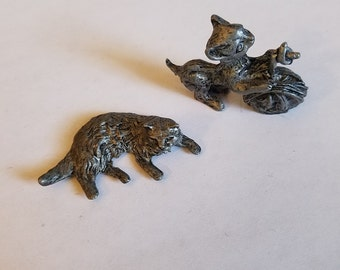 SALE Vintage Lot of Two Adorable Tiny Miniature Pewter Cat Figurines Statues, USA