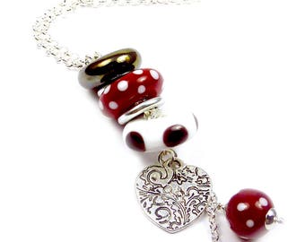 TRIO - Red, white & black lampwork glass rings long necklace
