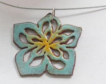 Aqua and Yellow Enamel Flower Pendant