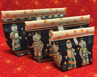 ROBOT Oilcloth Snappy Pouch - 3 sizes