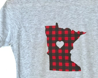 Minnesota Flannel Kids T-Shirt - Minnesota Love Flannel Tee- Screen Printed Minnesota Heather Gray Unisex Kids Top by Oh Geez! Design