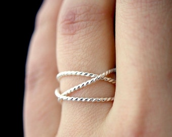 Sterling Silver Thick Twist Wraparound ring, sterling silver wrap ring, wrapped silver ring, silver stack ring, silver wrap around, infinity