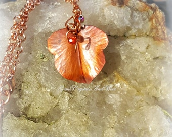 Boho Leaf Pendant, Autumn Leaf Pendant, Fold-Formed Copper Jewelry, Nature Jewelry, Valentine's Gift for Her