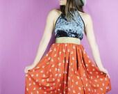 Orange OWL Skirt, Gold OWL Skirt, Handmade Orange skirt, Long Owl Middy skirt, OOAK Skirt