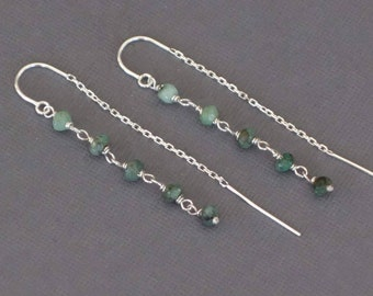 Ombre Emerald Threader Earrings, Green Emerald Earrings, Silver Threaders with U bar